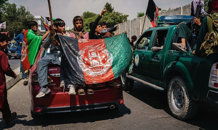 An anti-Taliban protest in Kabul on Thursday: The Taliban rolled in like an avalanche.