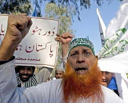 Pakistani Muslims rally againstthe Danish cartoons of Muhammad in Feb. 2006.