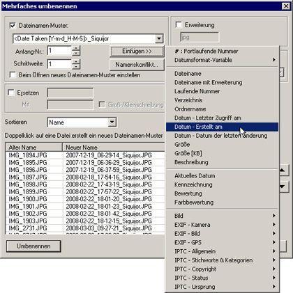 Klare Aussagen: Das Gratisprogramm XnView sorgt hier für neue, aussagekräftige Dateinamen