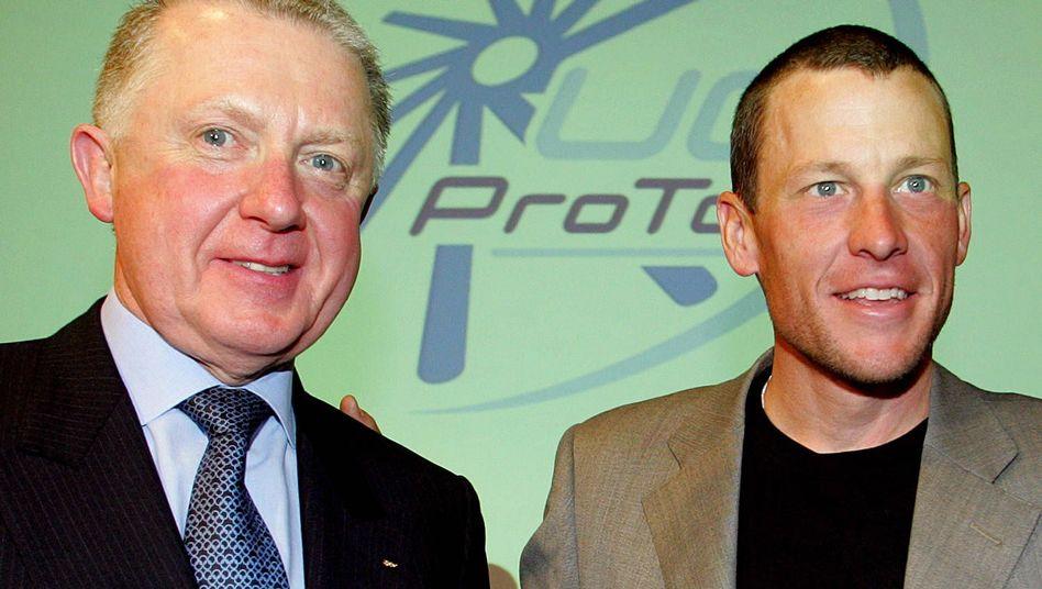 """Funktionär Verbruggen (l.), Armstrong (Archivbild): """"Das ist ein echtes Problem"""""""