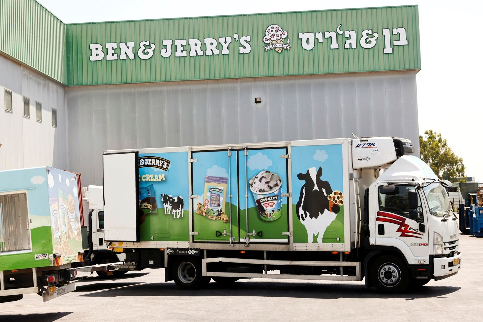 A Ben & Jerry's ice-cream delivery truck is seen at their factory in Be'er Tuvia, Israel