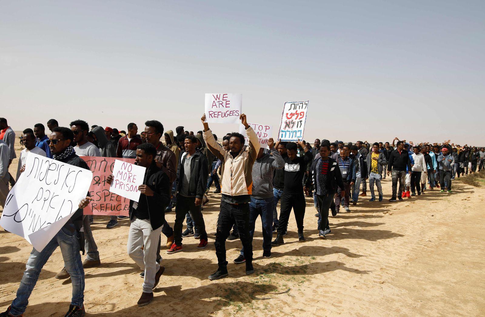 Flüchtlingsdemo Israel Afrikanische Flüchtlinge