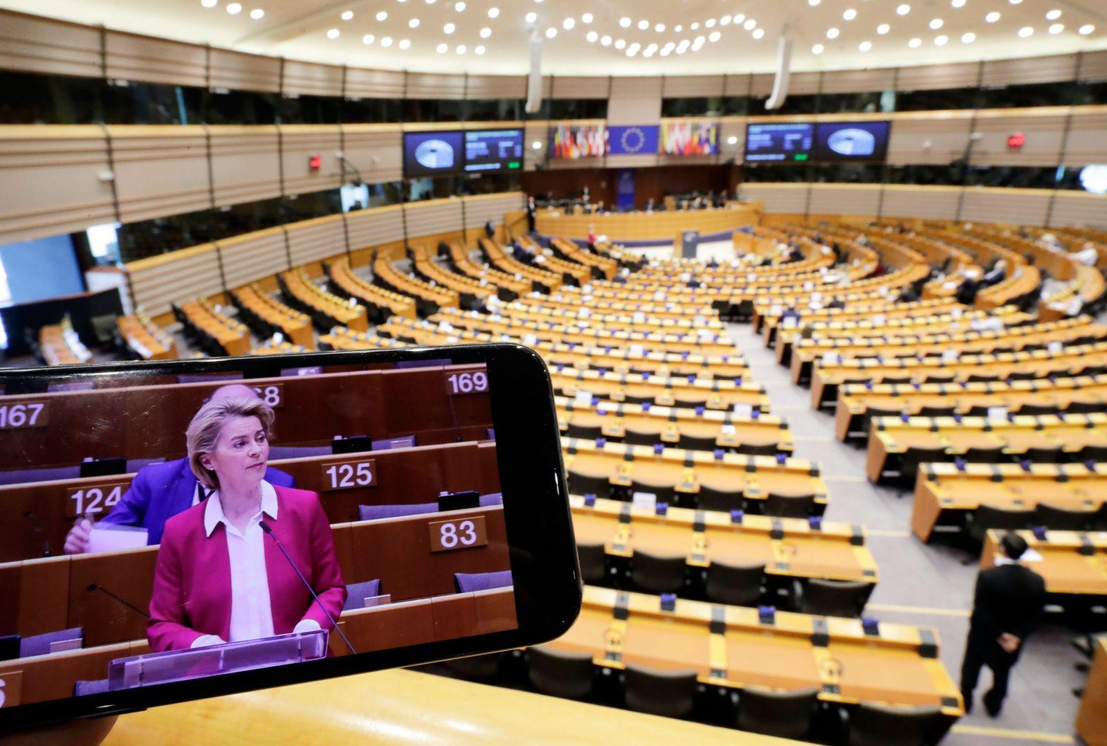 European Parliament plenary session amid coronavirus, Brussels, Belgium - 26 Mar 2020