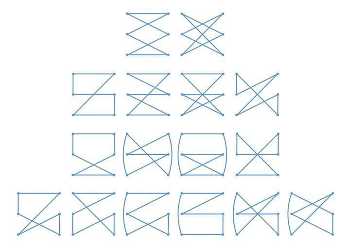 16 von 42 Varianten bei 3 Lochpaaren (für Gesamtansicht Bild anklicken)