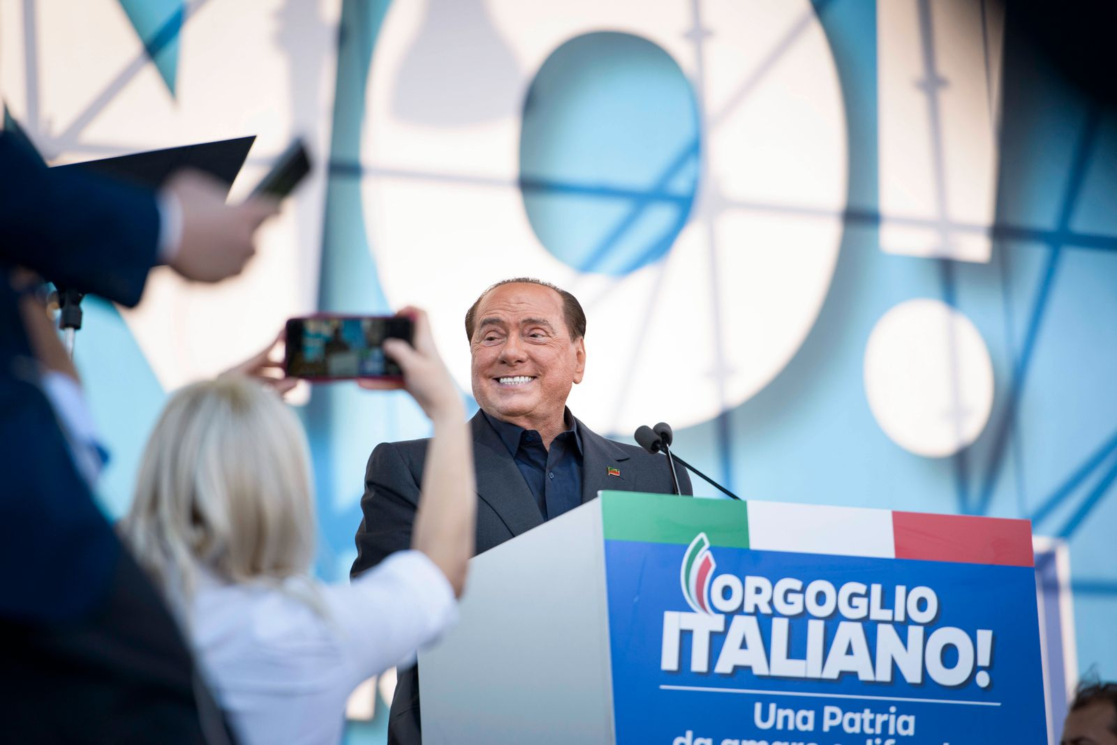 ITALY - ILLUSTRATIONS OF POLITICAL FIGURES Former Italian Prime Minister Silvio Berlusconi at a political rally in Rome