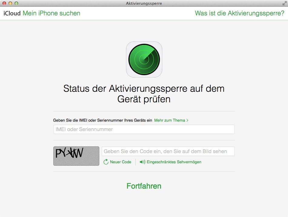NUR ALS ZITAT Screenshot Activation Lock/ Aktivierungssperre