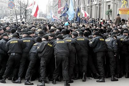 Belarus special police forces block the march of opposition supporters in Minsk on Saturday, March 25th.