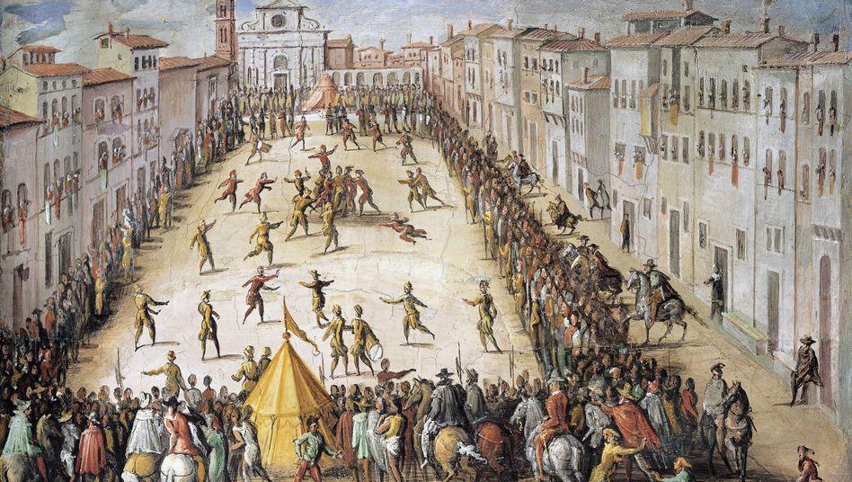 Fußballspiel auf Piazza Santa Maria Novella in Florence (16. Jahrhundert)