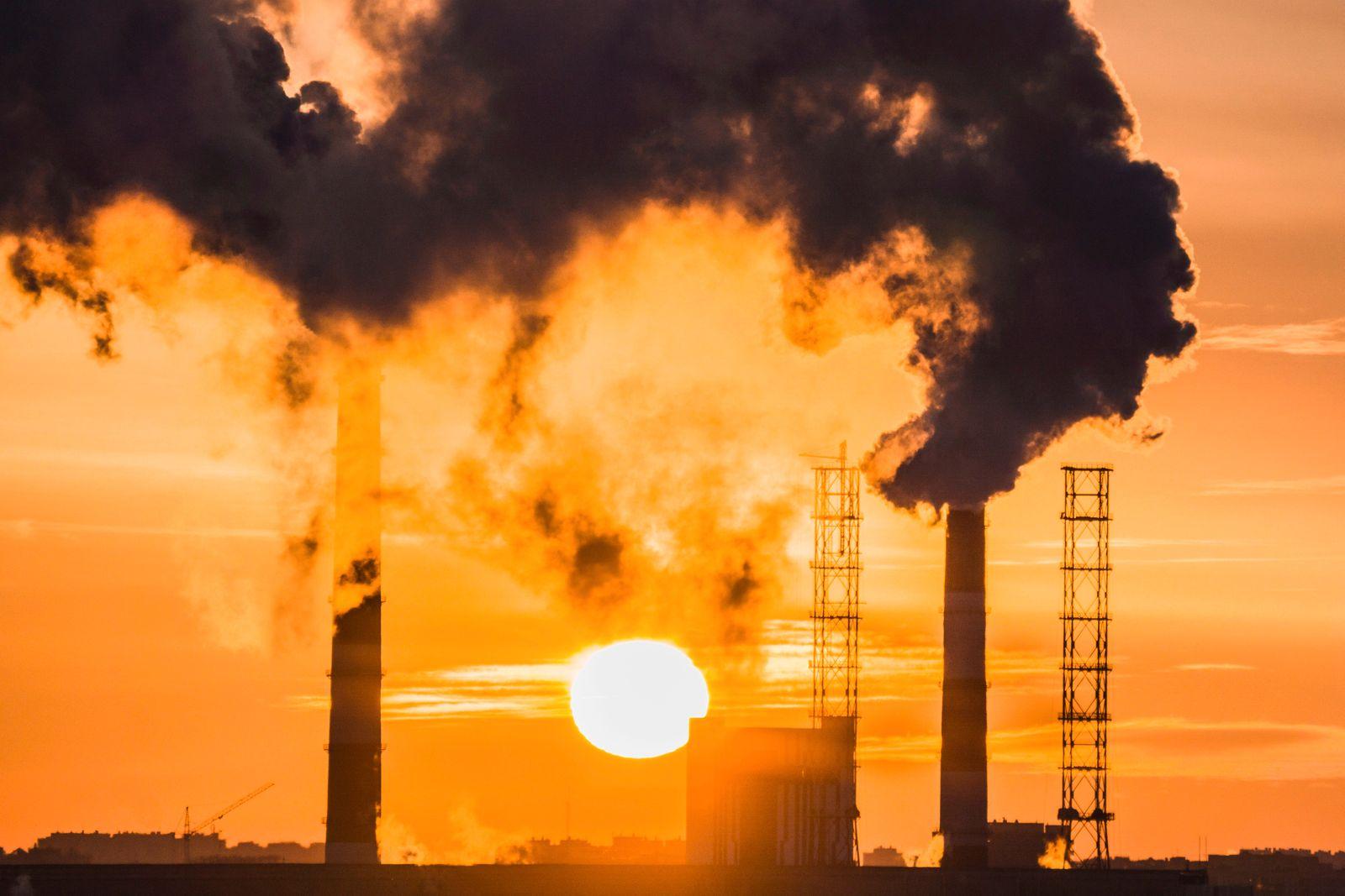 pollution smoke at sunset