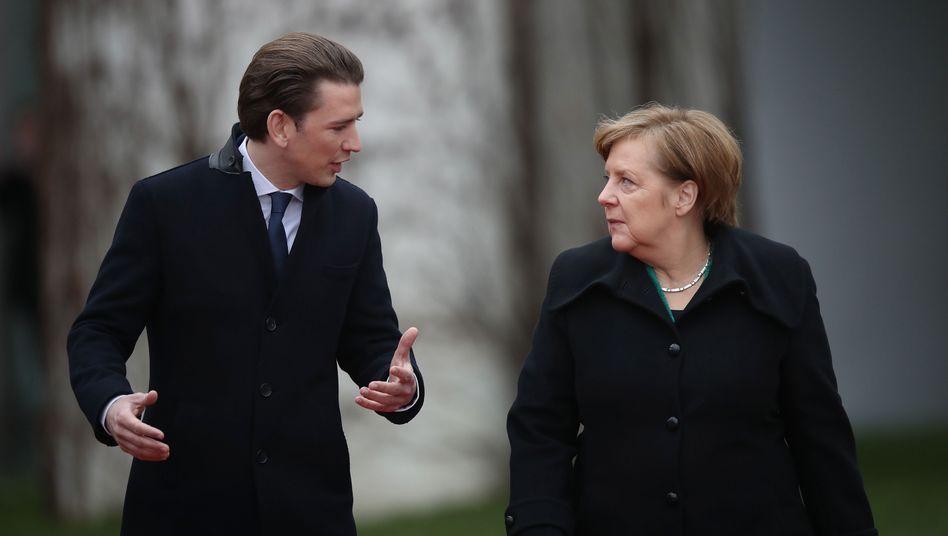 Der österreichische Kanzler Sebastian Kurz und Bundeskanzlerin Angela Merkel