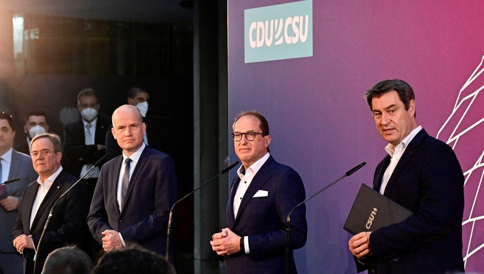 Armin Laschet, Ralph Brinkhaus, Alexander Dobrindt und Markus Söder