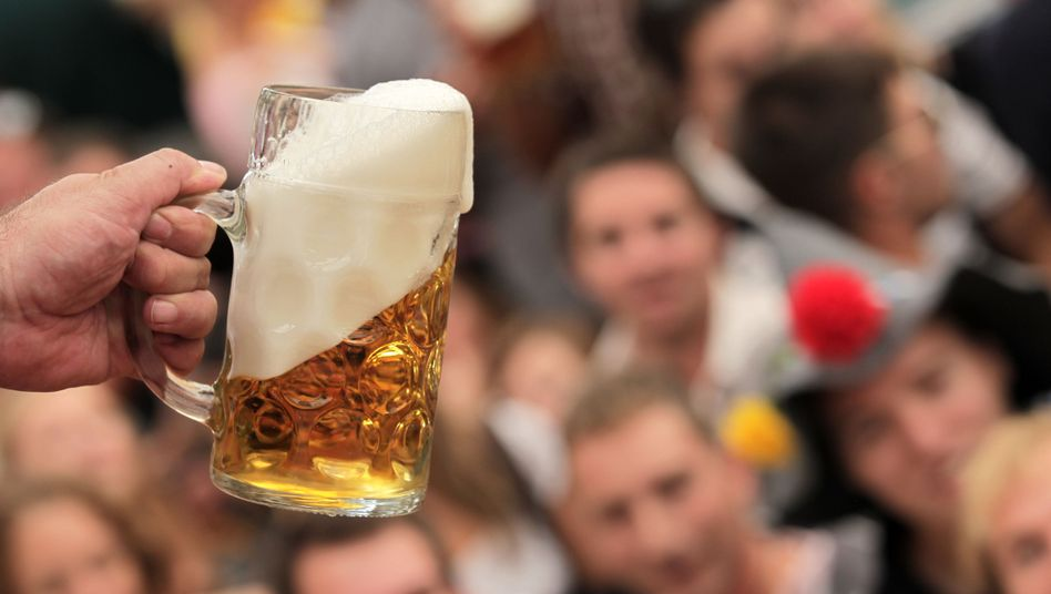 A one-liter beer stein, like those used in attacks at the Oktoberfest. If used with enough force it could crack a person's skull.