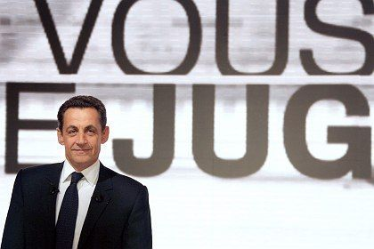 French Interior Minister, and leader of the ruling conservative Union for a Popular Movement party, Nicolas Sarkozy.