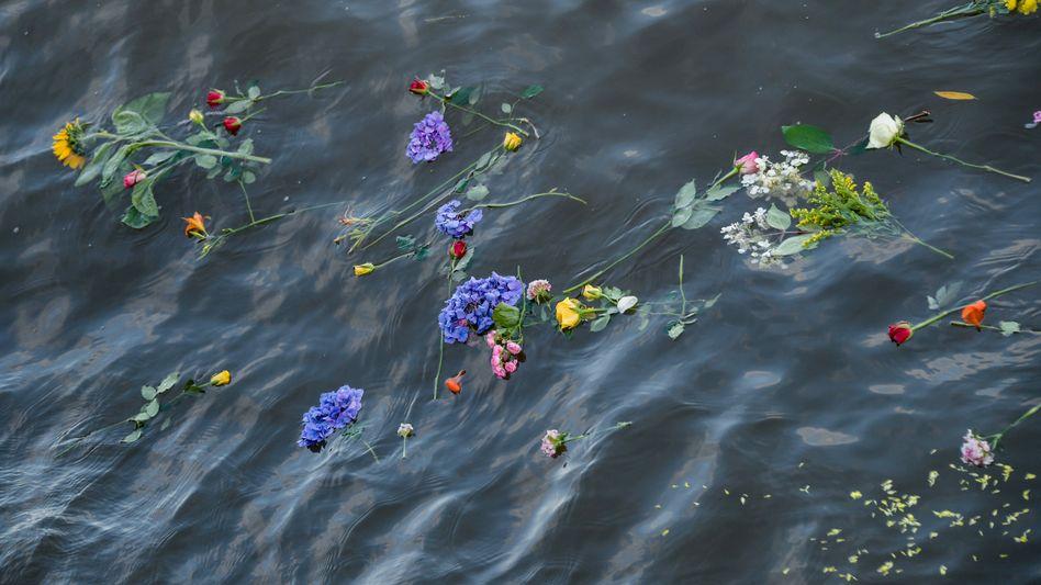 Blumen in der Elbe bei Gedenken an Flüchtlinge