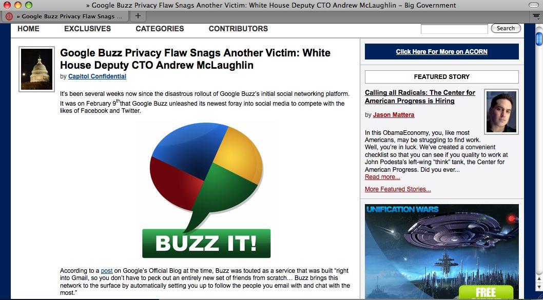 SCREENSHOT McLaughlin / Google Buzz