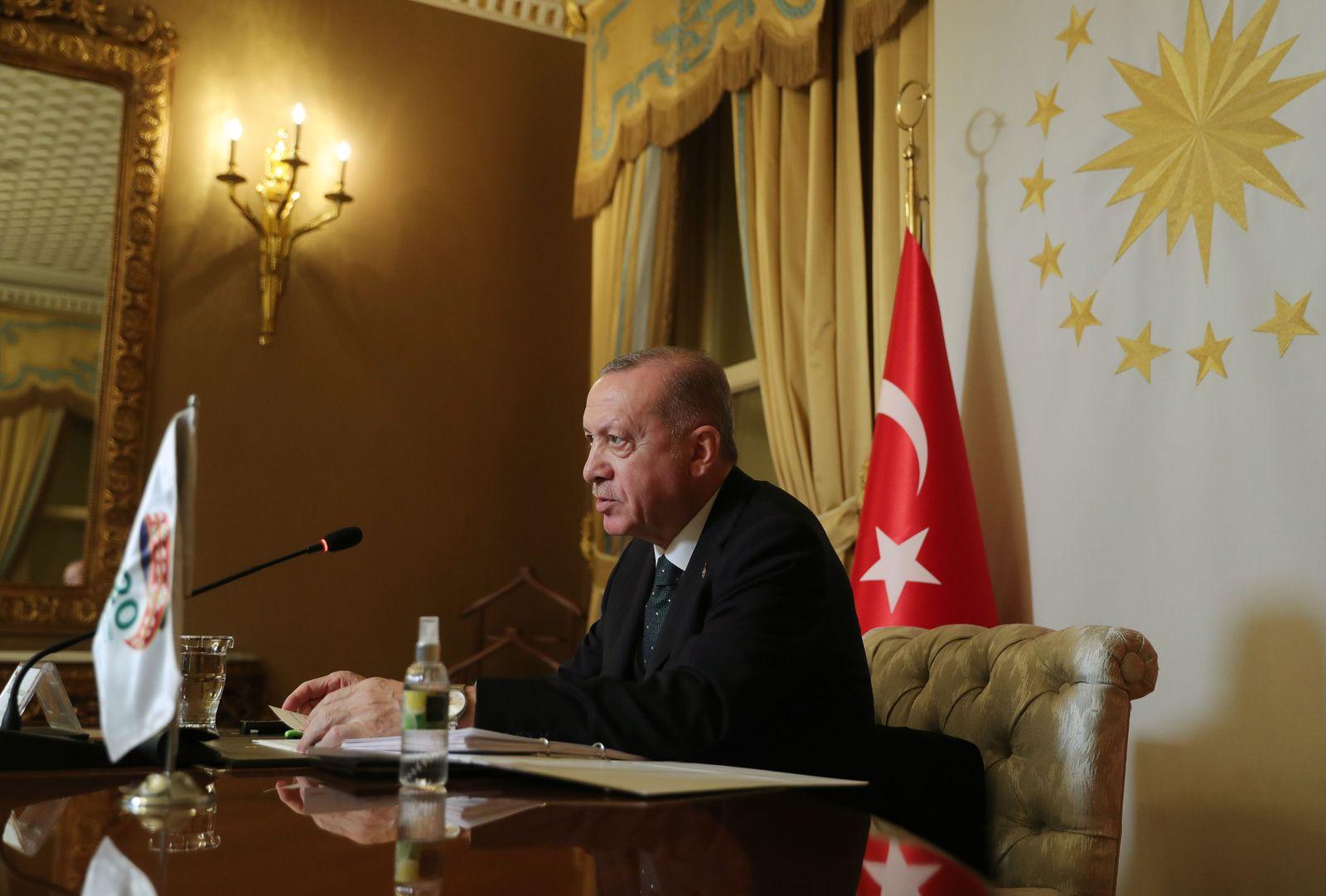 Turkish President Erdogan takes part in the virtual G20 meeting hosted by Saudi Arabia, in Istanbul, Turkey - 22 Nov 2020