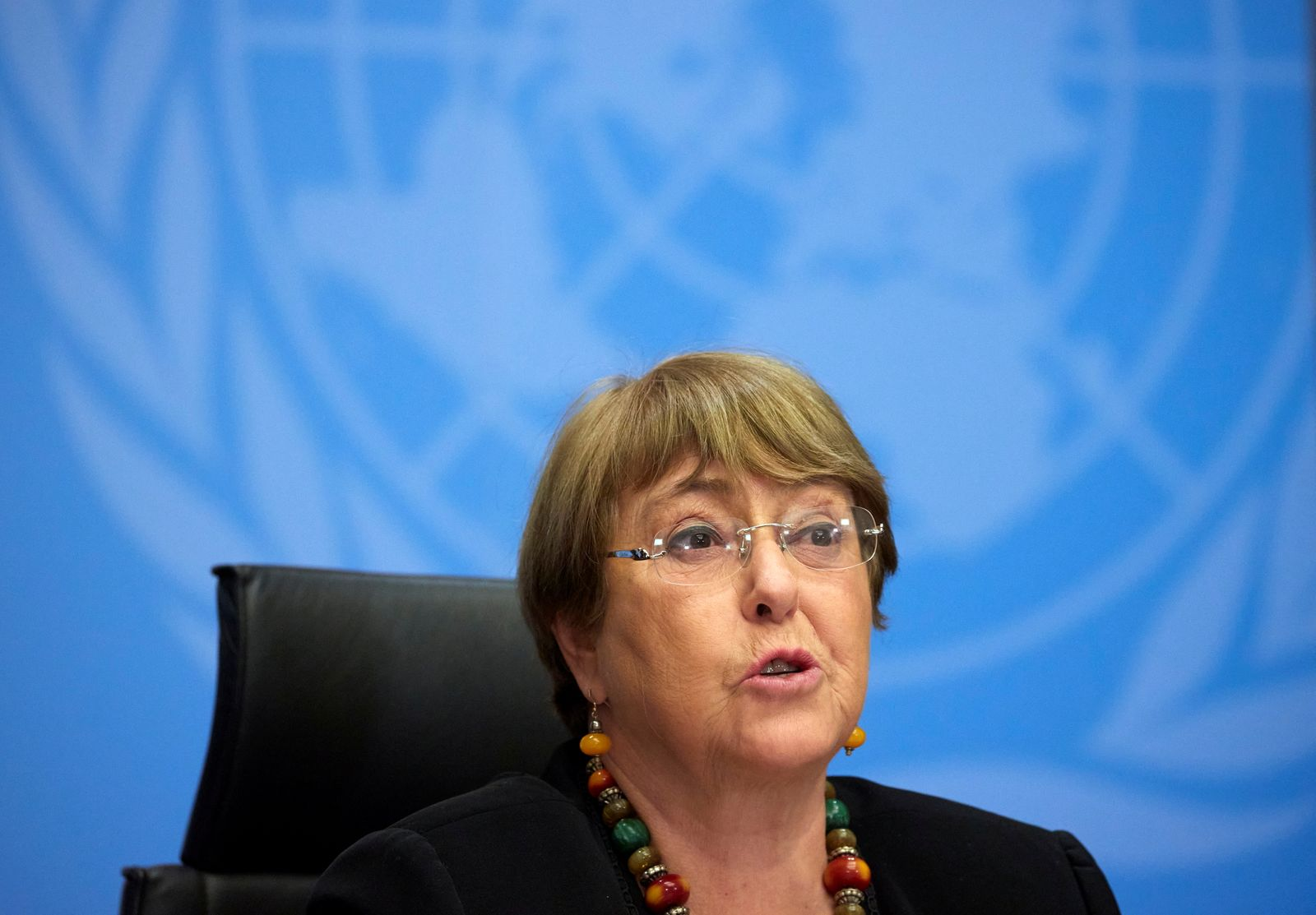 U.N. High Commissioner for Human Rights Bachelet attends a news conference in Geneva