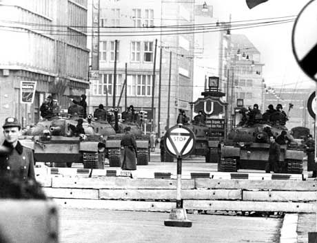 American and Soviet tanks face off at Checkpoint Charlie on Oct. 28, 1961, shortly after East Germany closed its borders.