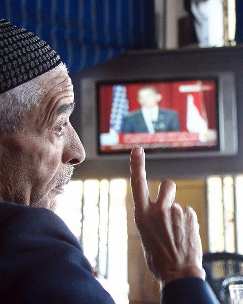 A Moroccan man watches Obama's speech in Casablanca.