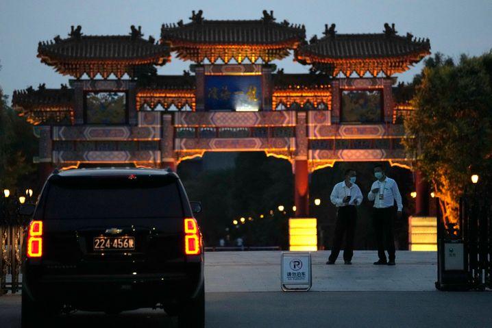Im Tianjin Binhai One Hotel (hier ist die Zufahrt zu sehen) sollten die US-chinesischen Gespräche stattfinden