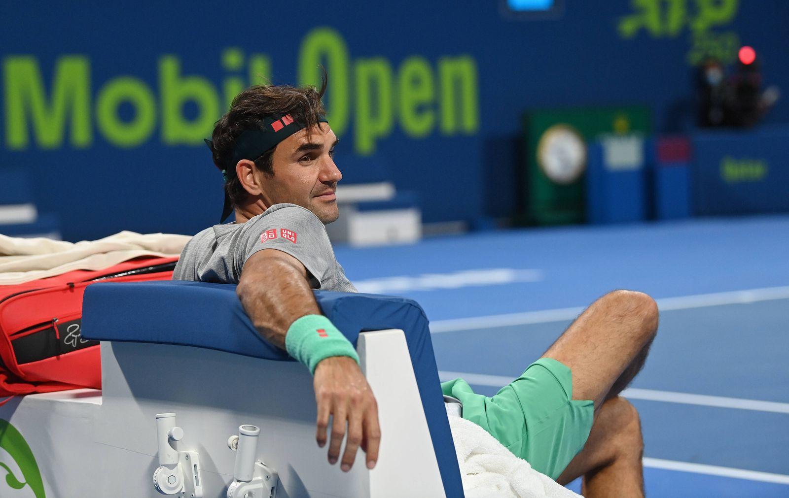 Qatar Exxon Mobil Open 2021 Roger Federer , Switzerland *** Qatar Exxon Mobil Open 2021 Roger Federer , Switzerland