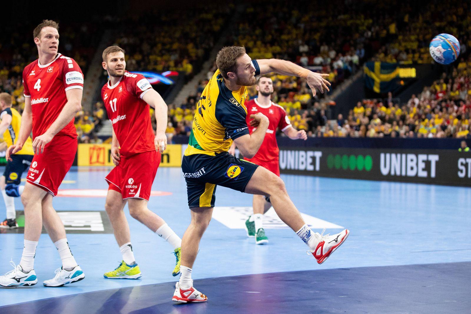 200110 Albin Lagergren of Sweden during the EHF European Handball Championship match between Sweden and Switzerland on
