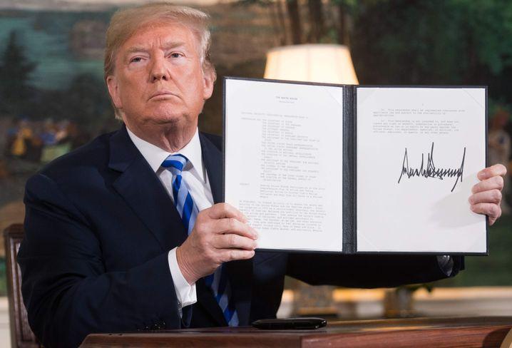 Donald Trump nach der Wiedereinsetzung der Sanktionen