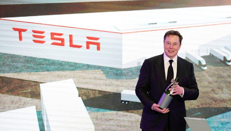 Tesla-Chef Elon Musk bei der Vorstellung des neuen Model Y im Januar in Shanghai