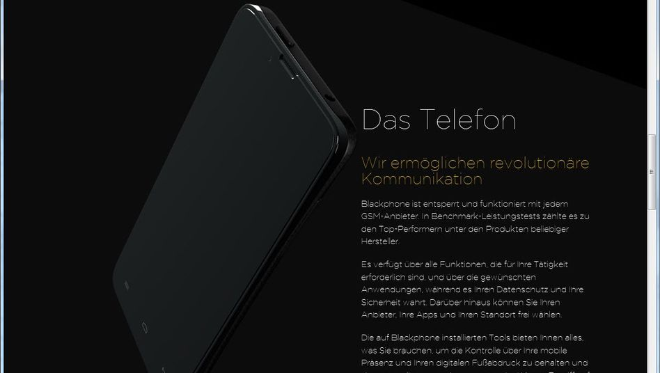 Blackphone-Webseite: Android mit Extras