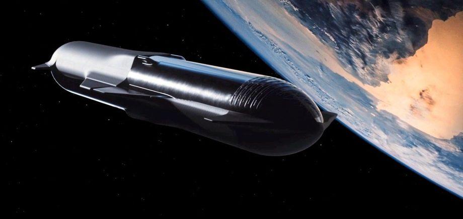 Diese Simulation zeigt das »Starship« beim Tankmanöver. Der vordere Teil ist das Raumschiff, der hintere das Tankmodul.