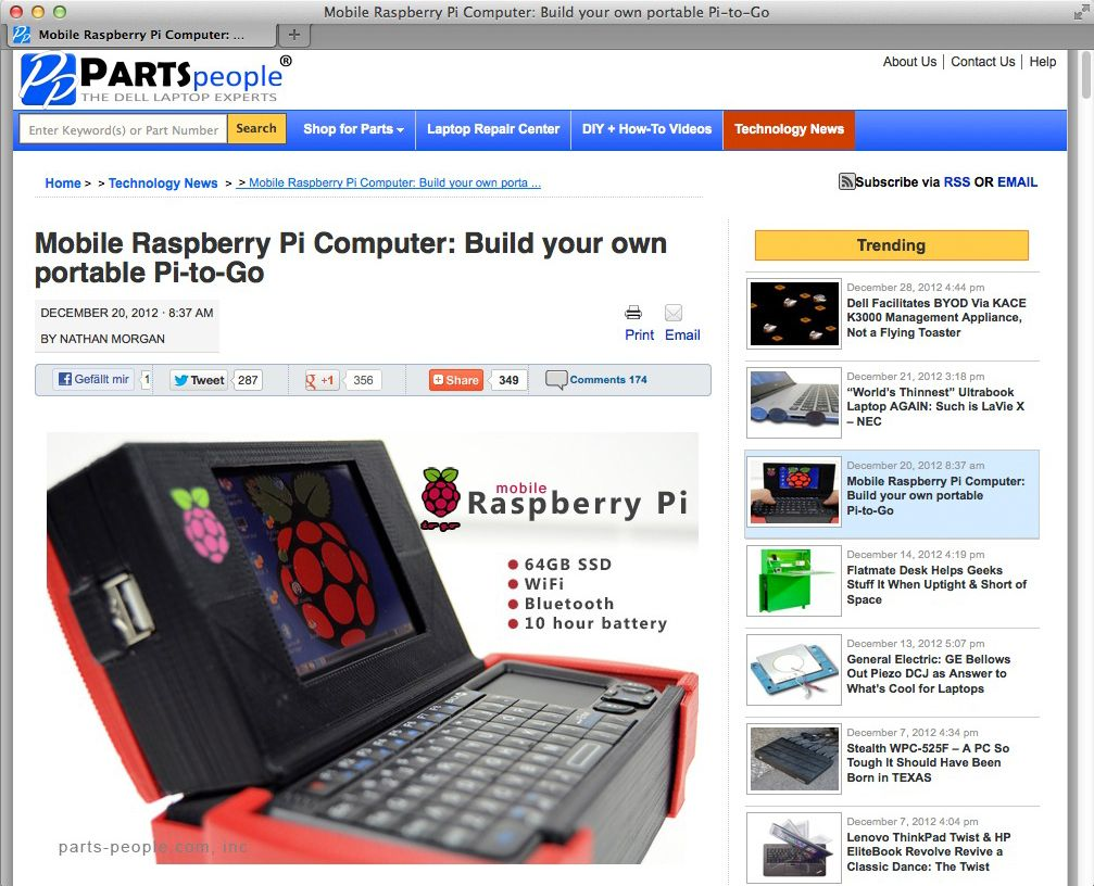 NUR ALS ZITAT Screenshot Raspberry Pi Projekte / Pi to go