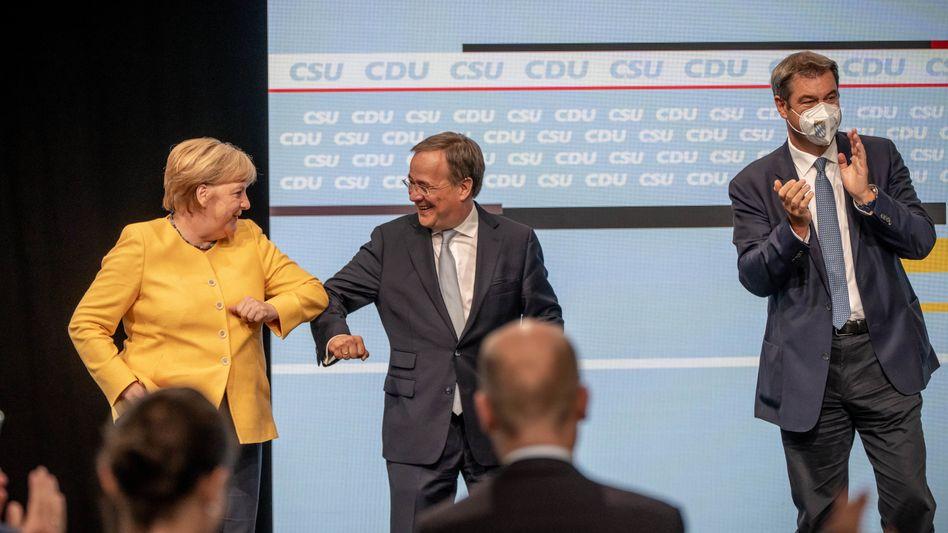 Unionsgrößen Merkel, Laschet, Söder: Hauptsache Nummer eins bleiben