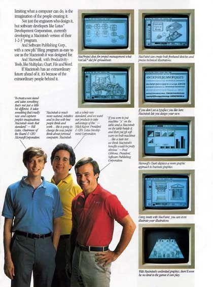 Apple-Anzeige von 1984 mit Bill Gates (Microsoft), Mitch Kapor (Lotus) und Fred Gibbons (Software Publishing Corporation): Klicken Sie auf das Bild, um die vollständige Anzeigenseite zu sehen
