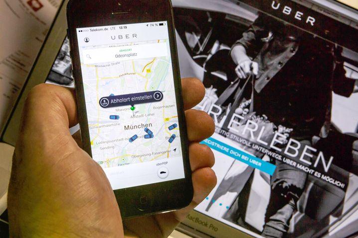 App des Fahrtenvermittlers Uber in München