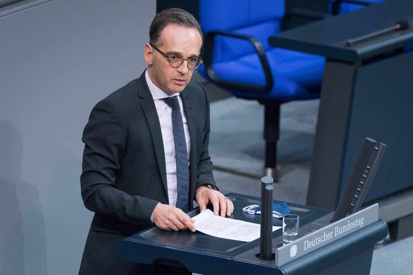 Berlin, Plenarsitzung im Bundestag Deutschland, Berlin - 30.10.2020: Im Bild ist Heiko Maas (Bundesminister des Auswärt