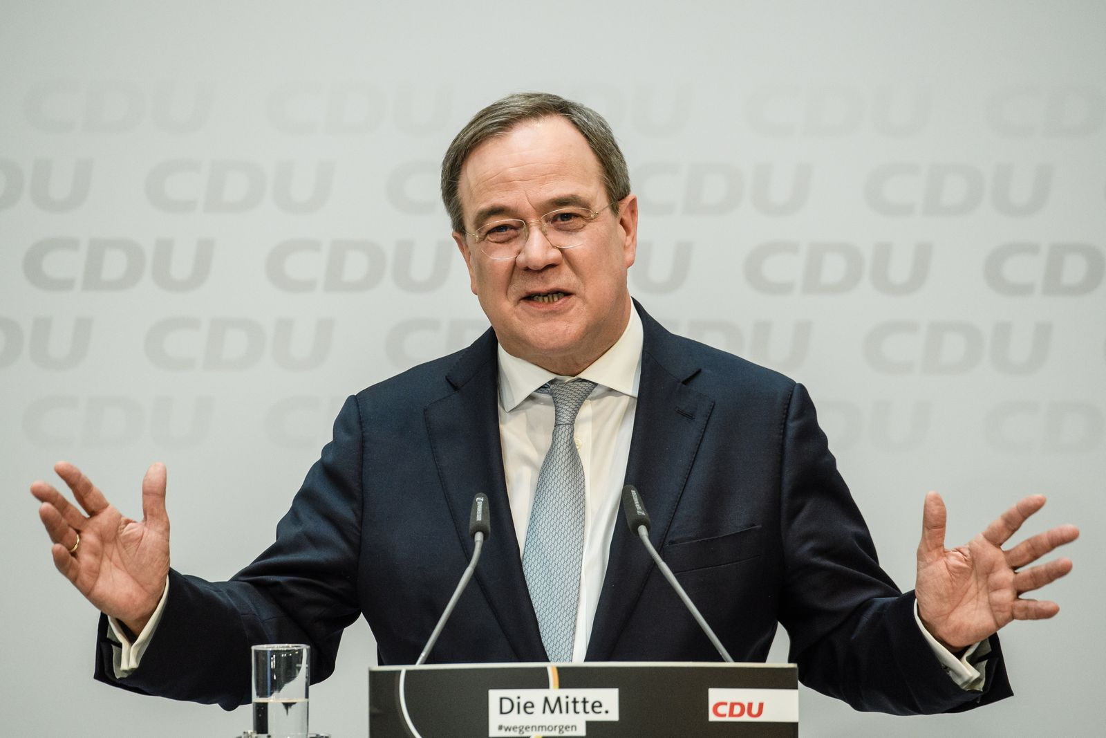 CDU Chairman Laschet speaks after loss of votes in regional state elections in Baden-Wuerttemberg and Rhineland-Palatinate