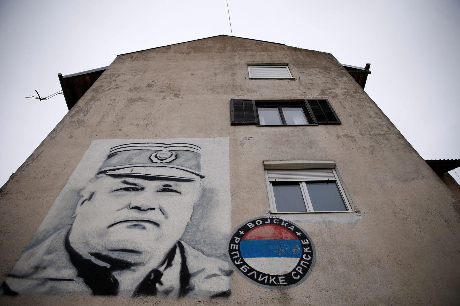 Mladic mural is seen on building in Gacko