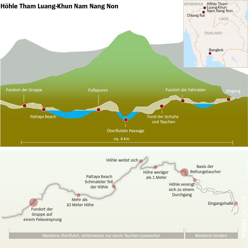 Karte Thailand Höhle Überflutung