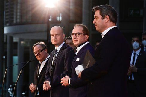 Unionspolitiker Laschet, Brinkhaus, Dobrindt, Söder