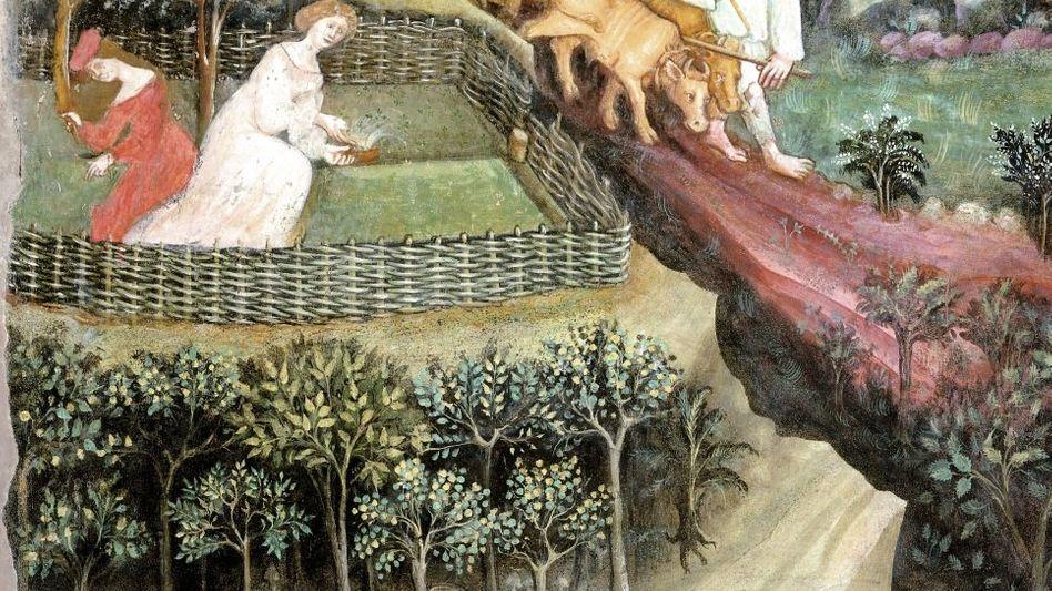 Mittelalterliches Bauernleben - Arbeiten im April Wandmalerei im Castello del Buonconsiglio in Trient