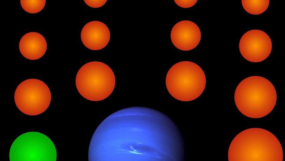 Die 18 neu entdeckten Exoplaneten (orange und grün) im Größenvergleich