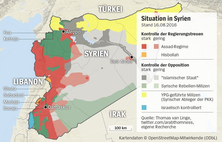 Grafik Karte Syrien - Stand 16-08-2016 - Eingeschlossene Orte