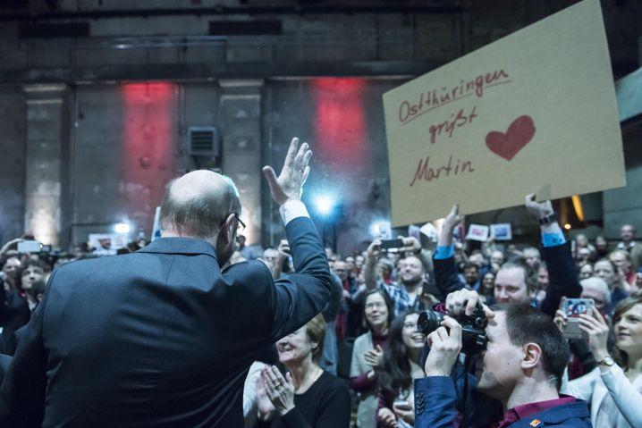 Martin Schulz bei einem Wahlkampfauftritt in Leipzig