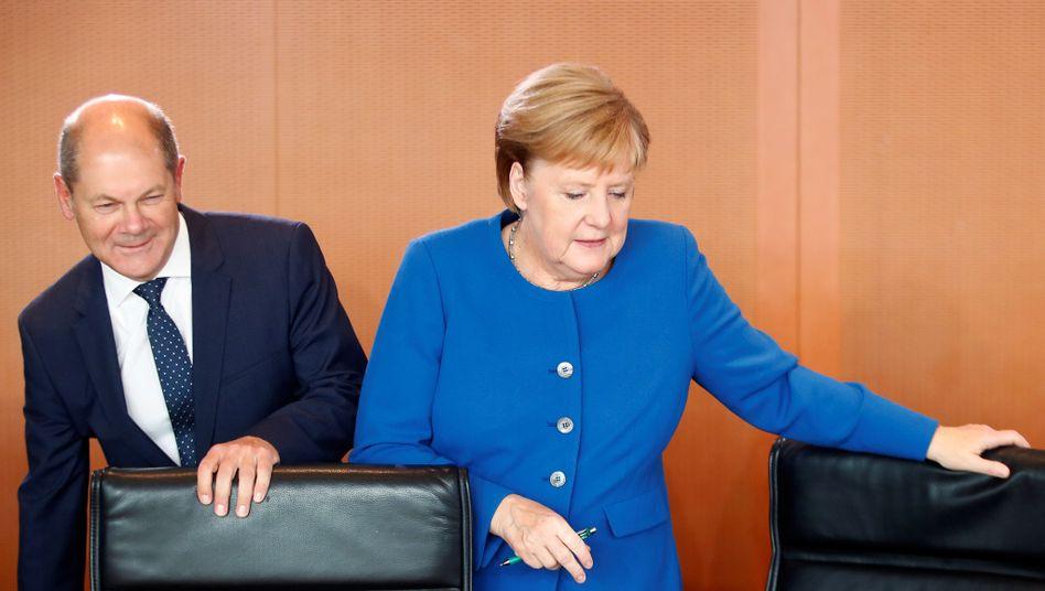 Olaf Scholz und Angela Merkel beim Treffen des Klimakabinetts