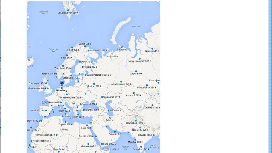 Flugsuche mit Google: Die Übersichtskarte zeigt aktuelle Preise an