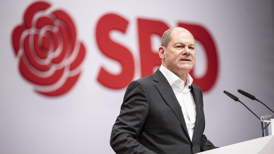 Olaf Scholz beim SPD-Parteitag im Dezember 2019
