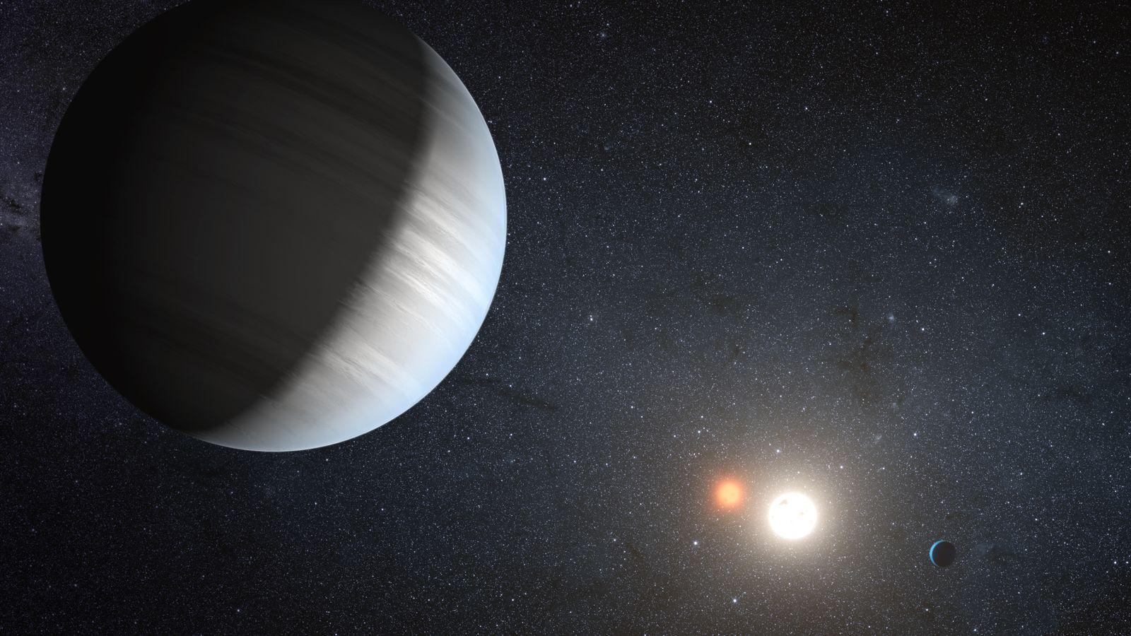 NUR FÜR NEW SCIENTIST Doppelsternsystem Exoplaneten