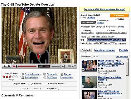 YouTube-Wahlkampf: Eine Bush-Puppe befragt Präsidentschafts-Kandidaten