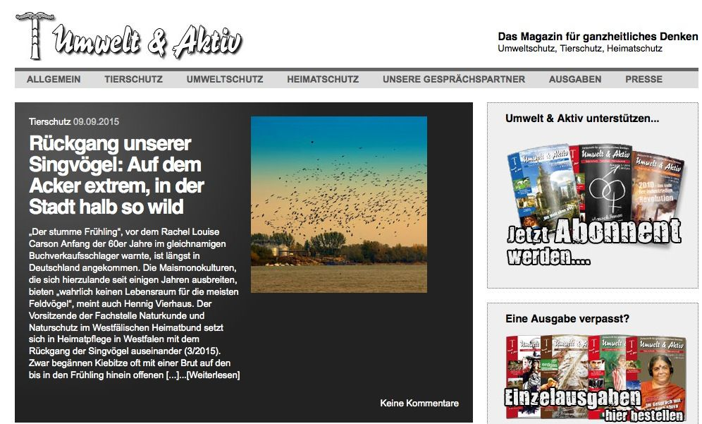 EINMALIGE VERWENDUNG umweltundaktiv.de/ Screenshot