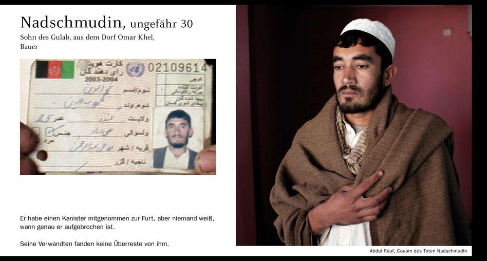 Das Leid von Kunduz: Ausweis eines Opfers, daneben ein Porträt eines Angehörigen